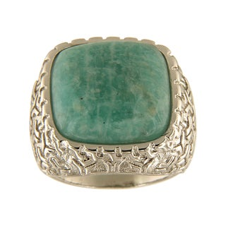 Amazonite Cushion Cabochon 18 mm Brass Silver Color Finish Fashion Jewelry Ring - Green