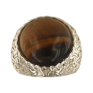 Yellow Tiger Eye Round Cabochon 18 mm Brass Silver Color Finish Fashion Jewelry Ring - Green