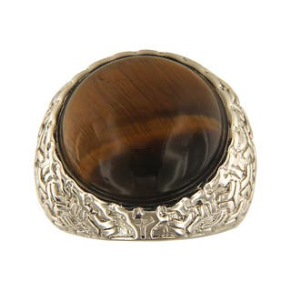 Yellow Tiger Eye Round Cabochon 18 mm Brass Silver Color Finish Fashion Jewelry Ring - Green|https://ak1.ostkcdn.com/images/products/13427344/P20120059.jpg?impolicy=medium