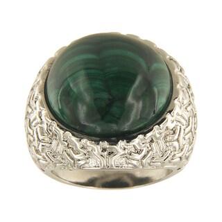 Malachite Round Cabochon 18 mm Brass Silver Color Finish Fashion Jewelry Ring