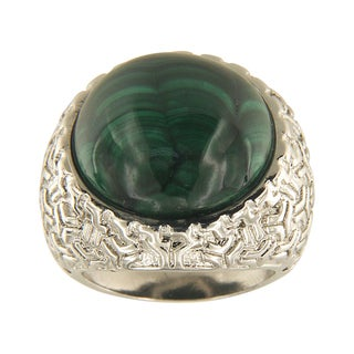 Malachite Round Cabochon 18 mm Brass Silver Color Finish Fashion Jewelry Ring Jewelry for Womens - Green