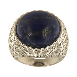 Dyed Lapiz Lazuli Round Cabochon 18 mm Brass Silver Color Finish Fashion Jewelry Ring