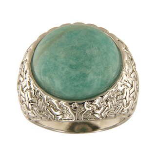 Amazonite Round Cabochon 18 mm Brass Silver Color Finish Fashion Jewelry Ring
