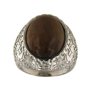 Yellow Tiger Eye Oval Cabochon 15x20 mm Brass Silver Color Finish Fashion Jewelry Ring Jewelry for Womens - Green