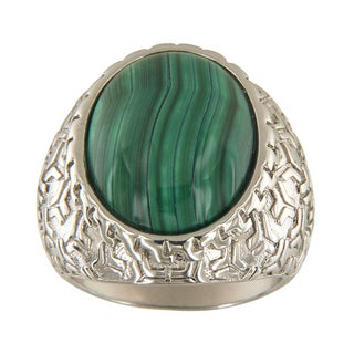 Malachite Oval Cabochon 15x20 mm Brass Silver Color Finish Fashion Jewelry Ring - Green
