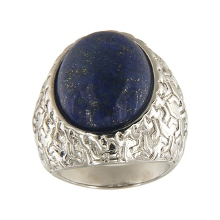 Dyed Lapiz Lazuli Oval Cabochon 15x20 mm Brass Silver Color Finish Fashion Jewelry Ring - Blue