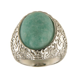 Amazonite Oval Cabochon 15x20 mm Brass Silver Color Finish Fashion Jewelry Ring - Green