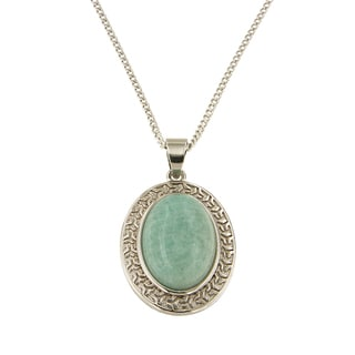 "Amazonite Oval Cabochon 13x18 mm Brass Silver Color Finish Fashion Jewelry 18"" Pendant Necklace"