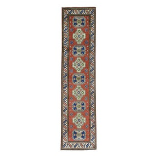 Hand-Knotted Runner Wool Kazak Tribal Design Rug (2'8x11'1)