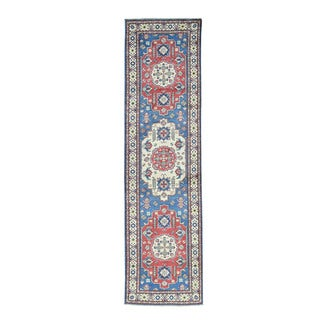 Hand-Knotted Geometric Design Blue Kazak Runner Rug (2'9x10'3)