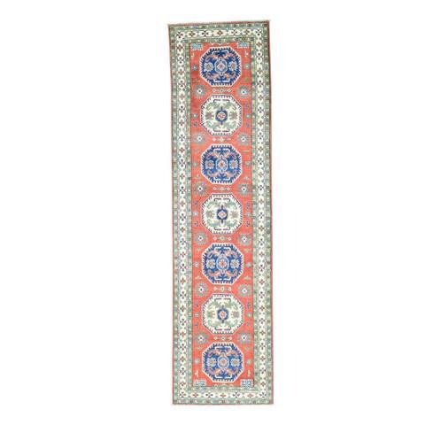 Hand-Knotted Red Kazak Geometric Design Runner Oriental Rug - 2'7x10'