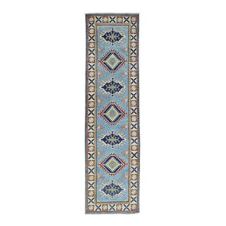 Hand-Knotted Blue Tribal Design Runner Kazak Oriental Rug (2'8x9'9)