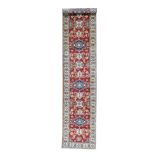 Hand-Knotted Geometric Design Kazak Red Runner Rug (2'7x13'4)