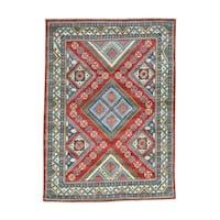 Hand-Knotted Wool Geometric Design Kazak Oriental Rug (5'10x6'10)