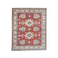 Hand-Knotted Wool Geometric Design Red Kazak Oriental Rug (5'x6'3)