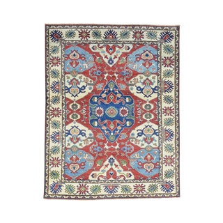 Hand-Knotted Tribal And Geometric Design Red Kazak Carpet (5'x6'6)