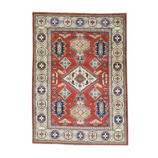 Tribal And Geometric Design Red Kazak Hand-Knotted Carpet (4'10x6'9)