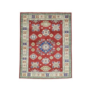 Tribal And Geometric Design Kazak Hand-Knotted Red Rug (5'x6'4)