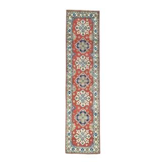 Tribal Design Red Hand-Knotted Runner Kazak Oriental Rug (2'7x10'2)