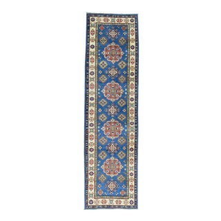 Geometric Design Blue Hand-Knotted Runner Kazak Rug (2'8x9'9)