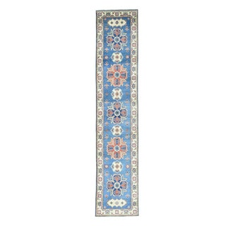 Hand-Knotted Geometric Design Blue Runner Kazak Wool Rug (2'9x13'1)