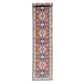 Hand-Knotted Geometric Design Red Runner Kazak Wool Rug (2'8x13'2)