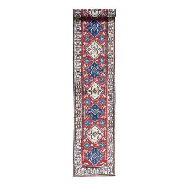 Hand Knotted Wool Red Runner Tribal Kazak Oriental Rug 2 X27 7x16