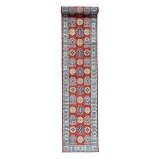 Hand-Knotted Tribal Design Red Runner Kazak Oriental Rug (2'8x16'5)