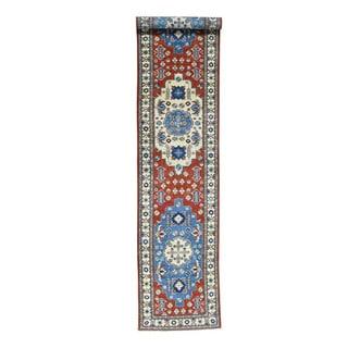 Hand-Knotted Tribal Design Red Runner Kazak Oriental Rug (2'9x13'6)