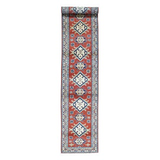 Hand-Knotted Red Tribal Design Kazak Runner Oriental Rug (2'9x14'9)