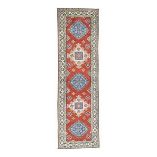Hand-Knotted Tribal And Geometric Design Kazak Runner Rug (2'9x9'6)