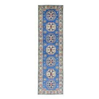 Hand-Knotted Tribal And Geometric Design Kazak Runner Rug (2'9x9'10)