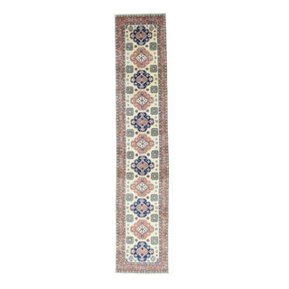 Hand-Knotted Tribal And Geometric Design Kazak Runner Rug (2'7x13')