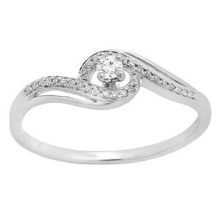 10k Gold 1/6ct TDW Round White Diamond Swirl Split Shank Bridal Promise Engagement Ring (I-J, I2-I3)