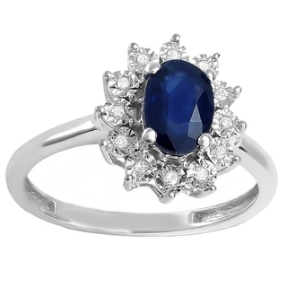Kate Middleton Diana Replica 14k Gold 1ct Round Diamond with Oval Blue Sapphire Royal Engagement Ring (I-J, I2-I3)