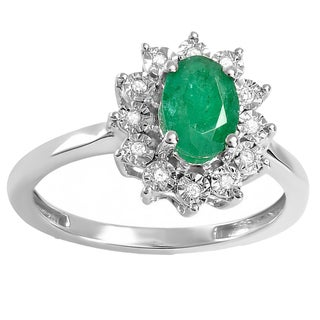 Kate Middleton Diana Replica 18k White Gold 1ct TDW Diamond and Green Emerald Royal Engagement Ring (I-J, I2-I3)