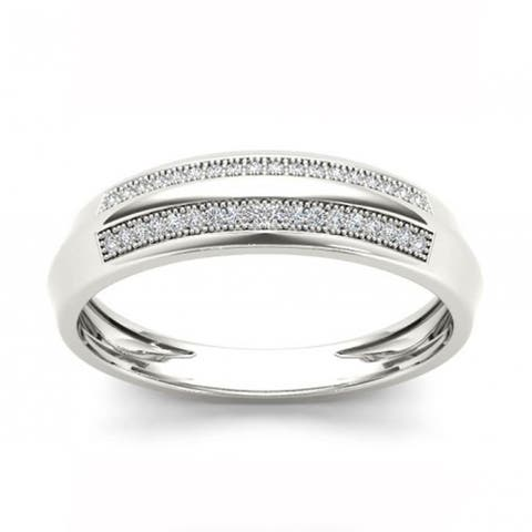 De Couer IGI Certified S925 Sterling Silver 1/8 ct TDW Diamond Men's Wedding Band - White
