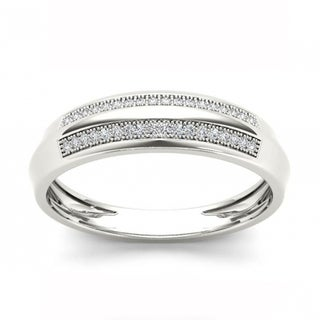 De Couer S925 Sterling Silver 1/8 ct TDW Diamond Men's Wedding Band - White