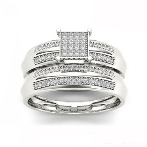 De Couer IGI Certified S925 Sterling Silver 1/5 ct TDW Diamond Cluster Bridal Ring - White