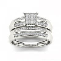 De Couer S925 Sterling Silver 1/5 ct TDW Diamond Cluster Bridal Ring - White