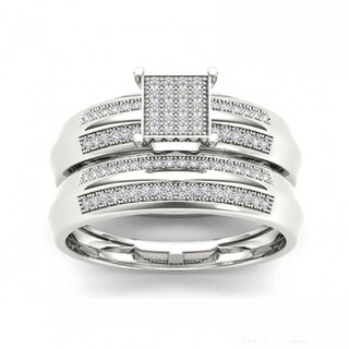 De Couer S925 Sterling Silver 1/5 ct TDW Diamond Cluster Bridal Ring