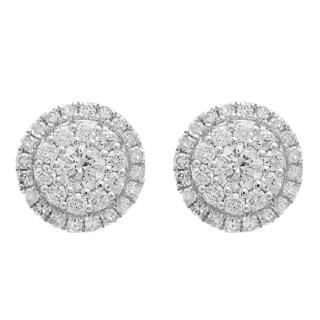 14k Gold 7/8ct TDW Round-cut White Diamond Halo Style Stud Earrings