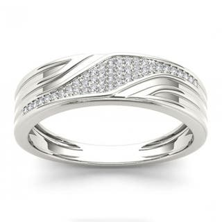 De Couer S925 Sterling Silver 1/6 ct TDW Diamond Men's Wedding Band https://ak1.ostkcdn.com/images/products/13427708/P20120431.jpg?impolicy=medium
