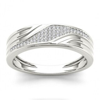 De Couer S925 Sterling Silver 1/6 ct TDW Diamond Men's Wedding Band