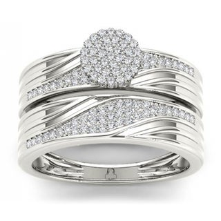De Couer S925 Sterling Silver 1/3 ct TDW Diamond Cluster Engagement Ring Set (H-I, I2)