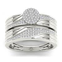 De Couer  IGI Certified S925 Sterling Silver 1/3 ct TDW Diamond Cluster Engagement Ring Set