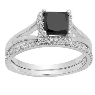 10k Gold 1 3/4ct TDW Black and White Diamond Bridal Halo Engagement Ring Set (I-J, I1-I2)