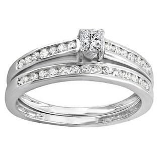 10k White Gold 5/8ct TDW Brilliant Round and Princess Diamond Bridal Engagement Ring Set (H-I, I1-I2)