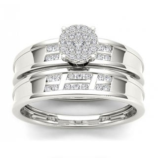 De Couer S925 Sterling Silver 1/3 ct TDW Diamond Cluster Engagement Ring Set (H-I, I2)