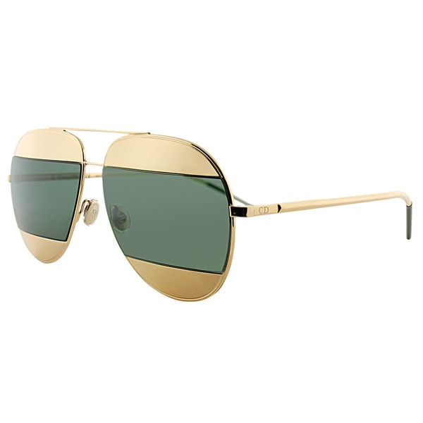 7ddd01e102 Dior Dior Split 1 000 85 Rose Gold Metal Aviator Green Lens Sunglasses